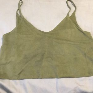 Olive green faux suede crop top